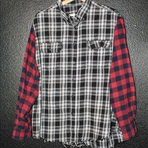 Other - hand stitched dual-patterned distressed flannel